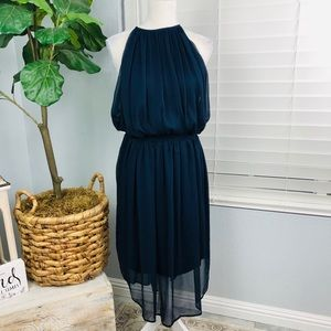 NWT NAVY BLUE FLOWY MIDI DRESS